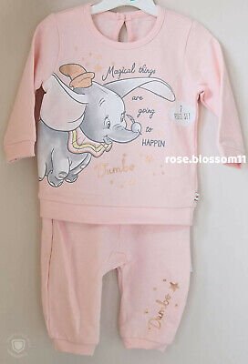 Disney Baby Girls Dumbo Pink Top and Trousers 2 Piece Outfit BNWT
