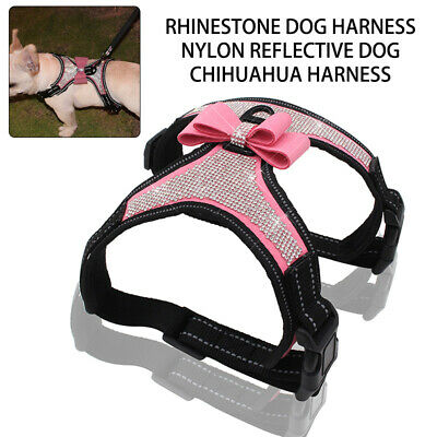 Bling Rhinestone Dog Harness Nylon Reflective Small Medium Dog Chihuahua Harness