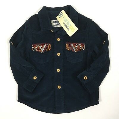 OshKosh 12M Blue Corduroy Shirt Aztec Print Button Down Boys Size 12 Months