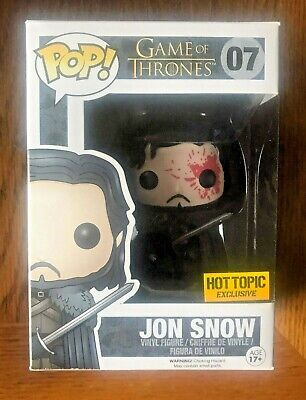 Funko POP! JON SNOW Bloody #07 Game Of Thrones HOT TOPIC Exclusive Vaulted - NEW