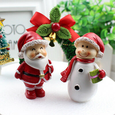 2Pcs Resin Santa Claus Snowman Christmas Home office Decor Ornaments Xmas Gifts