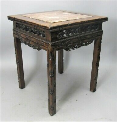 Gorgeous Antique CHINESE CARVED BAMBOO Marble Top Table w/ Marble Top  c. 1930