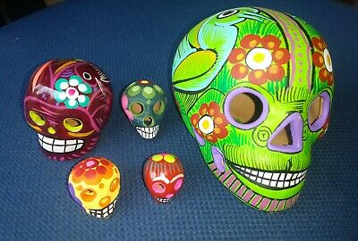 Lot of 5 Mexican Day of the Dead / Catrina style Clay Skulls Set Aztec Death God