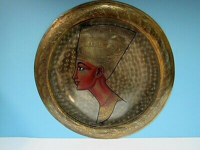 """Vtg. Queen Nefertiti Copper/Brass/Silver Etching Colorized Round Wall Art 13.75"""""""