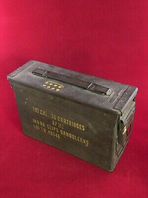 Vintage United 192 cal .30 Cartridge Ammo AP M2 8 Round Clips Bandoleers Box