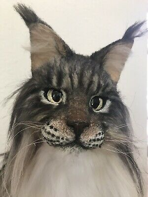 Maine Coon Cat Life Like Artist Kitty Kitten Long Hair