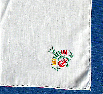 Girl Scout LAST HANKIE ISSUED Embroidered Trefoil Logo EUC 1970s LEADER GIFT