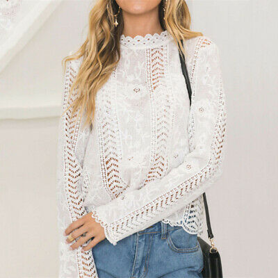 White Lace Hollow Turtleneck Tops Long Sleeve T-Shirt Sheer Summer Women Blouse