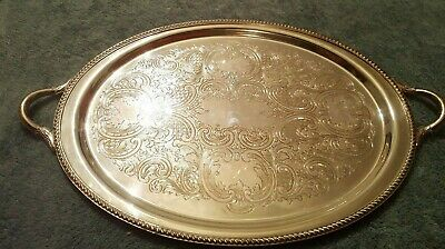 """Poole Silver Co 19"""" Silver Plate Butler Serving Tray W/ Handles EPC #16 1201"""