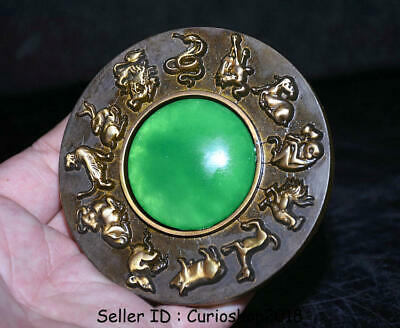 "3.4""Old Chinese Feng Shui Bronze inlay Green Jade 12 Zodiac Animal Bronze mirror"