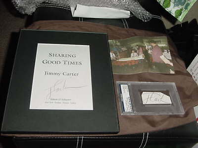 lot of (2) PRESIDENT JIMMY CARTER signed BOOK page proof + cut AUTO PSA/DNA slab