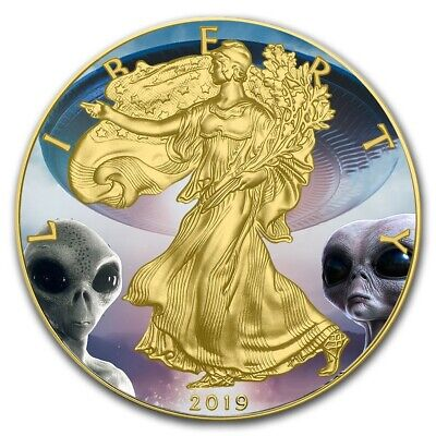 2019 1 Oz Silver $1 AREA 51 AMERICAN  EAGLE Coin WITH 24K GOLD GILDED.