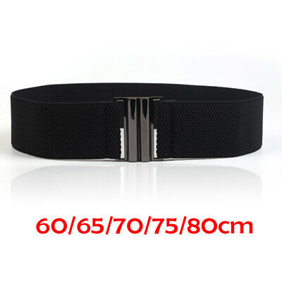 5 Size Black Metal Buckle Waistband Elastic Skinny Waist Belt Women Stretch Band