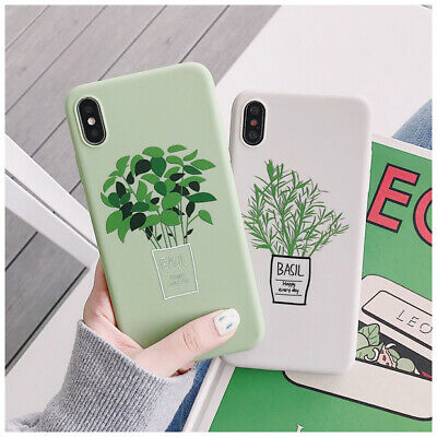 Fresh basil green leaf flower soft phone case cover For iPhone Xs Max XR 6s 7 8