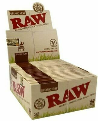Full Box Raw Organic Hemp Kingsize 50 Booklets Rolling Papers Slim Vegan Natural