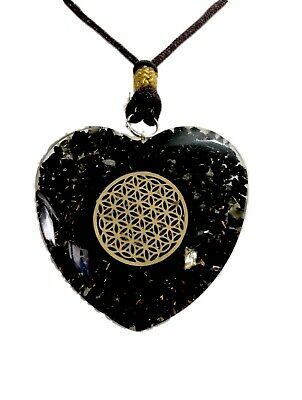 Reiki Energy Charged Black Tourmaline Stone Orgone Pendant With Flower Of Life