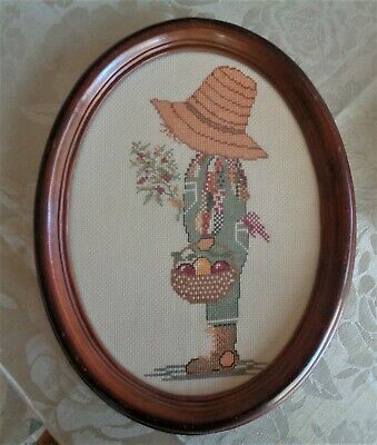 Vintage Completed Cross Stitch Picture *Sarah Kay Holly Hobbie Oval Timber Frame