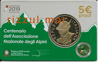 COIN CARD 5 EURO ITALIA 2019 CENTENARIO ALPINI PROOF Fs BE PP