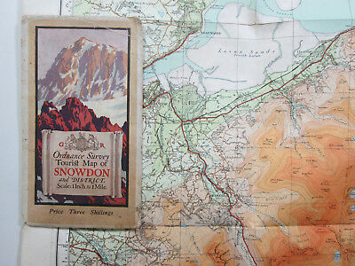 1934 Old Vintage OS Ordnance Survey One Inch Tourist Map Snowdon & District