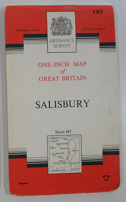 1963 old vintage OS Ordnance Survey Seventh Series one-inch Map 167 Salisbury