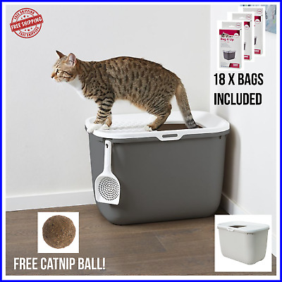 HOP IN CAT LITTER BOX Leak Proof Pet Toilet Top Entry Removable Cover + 18x BAGS