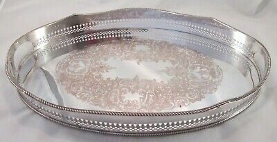 A Good Small Vintage Silver Plated Tray with Galleried Edge