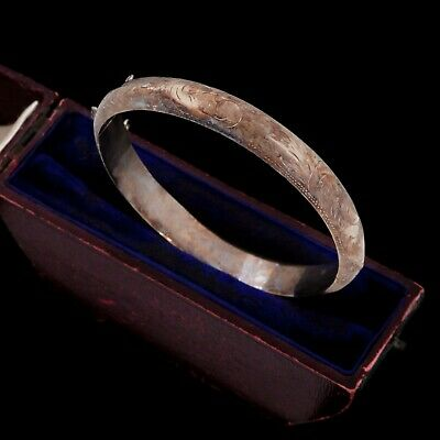 Antique Vintage Deco Retro Sterling Silver Chased Wedding Hinged Bangle Bracelet