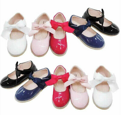 Girls Kids Childrens Flat Satin Bow Party Wedding Brital MaryJane Sandals Shoes