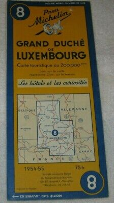 Vintage Michelin #8 Grand Duchy Duche Luxembourg Map 1954-55 Made in France