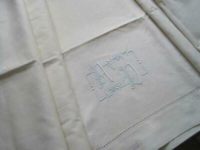Xl King Size Sublime Antique French Pure Linen Sheet With Beautiful Monogram