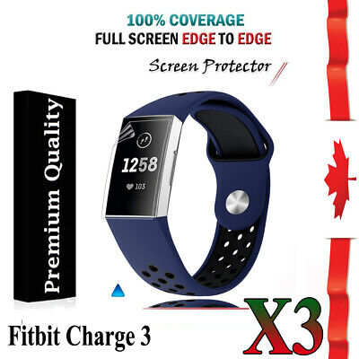 3X Ultra Clear Hydrogel AQUA Screen Protector Film Guard For Fitbit Charge 3