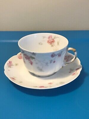 Antique A L Limoges France China Cup & Saucer Pink Floral Gold Trim Early 1900's