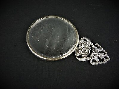 Vintage Decorative Danish Silver Plated Small Vanity Makeup Mirror