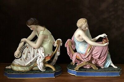 Antique French Old Limoges Pair Of Bisque Figurines Of Goddesses Very Rare