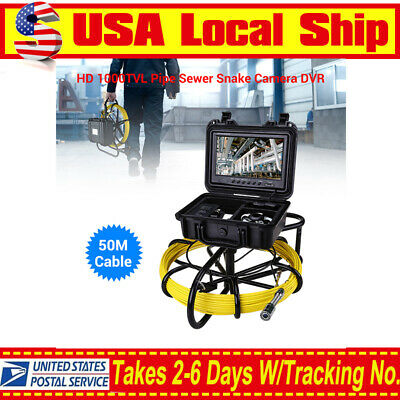 "9"" 164ft Pipeline Endoscope Inspection Waterproof 1000TVL Sewer Camera DVR 8GB"