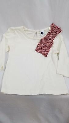 Janie & Jack Girls Toddler 4 4T Ivory White Large Bow 3/4 Sleeve Top Shirt