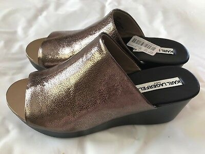 """b05b439a847 KARL LAGERFELD GOLD 4"""" Leather Comfort, Chain Espadrille Wedge ..."""