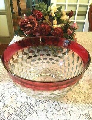 Vintage Large Indiana Depression Glass Diamond Point Ruby Red Bowl 13""