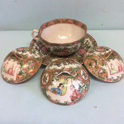 Rose Medallion Lot, Octagonal Cup, 3 Covers, 1 Saucer