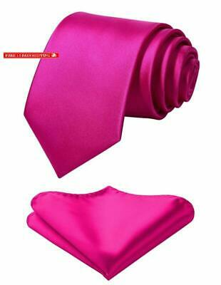 Mens Solid Color Ties Formal Satin Necktie and Pocket Square Set Wedding, by HIS