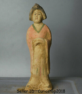 "8.4"" Ancient Chinese Han Painting Pottery Dynasty maid Woman Statue Sculpture"