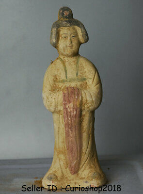 "8"" Ancient Chinese Han Painting Pottery Dynasty Palace Stand maid Woman Statue"