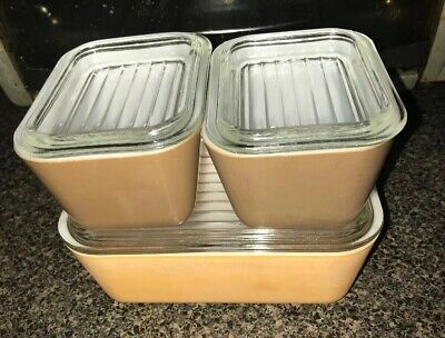 3 Pc Set Vintage Pyrex Refrigerator Dishes Yellow Brown With Lids #501 502
