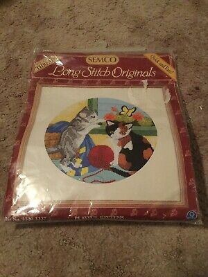 SEMCO Long Stitch Original Playful Kittens Cat TAPESTRY KIT
