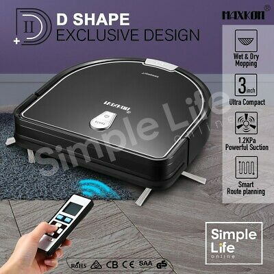 Maxkon Robotic Vacuum Cleaner Self-Charged Sweeper w/Remote Control Home 1.2KPa
