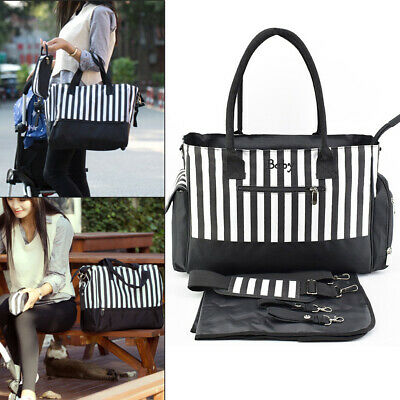 Perfect Baby Changing Bags Large Nappy Bag Mummy Diaper Tote 5PCS - Black White