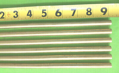 """3/8"""" C360 BRASS SOLID ROUND ROD 9""""  long (6 Pieces) New Lathe Bar Stock 1/2 Hard"""