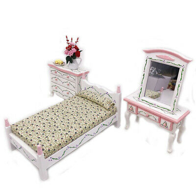 Mini bed with pillow dollhouse bedroom furniture for children pretend play  IO