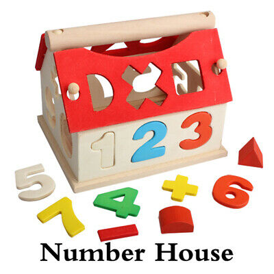 Kid Baby Educational Toy Wood House Building Intellectual Developmental Blocks d