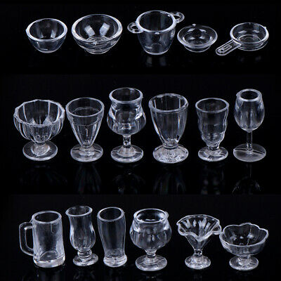 17Pcs/Set 1:12 Dollhouse Miniature Transparent Tableware DIY Kitchenware Toys